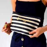 Personalised Wide Stripe Make Up Bag