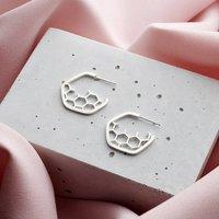 Silver Hoop Honeycomb Earrings, Silver