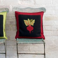 Hand Embroidered Beetroot Veggie Cushion