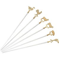 Set Of Six Steel And Brass Animal BBQ Skewers
