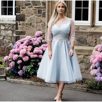 Lace And Tulle Silver And Blue Occasion Dress