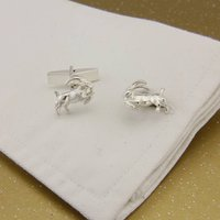 Capricorn Goat Cufflinks In Sterling Silver, Silver