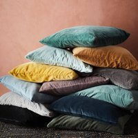 Sumptuous Yellow, Teal Or Grey Velvet Cushion, Mustard/Charcoal/Black