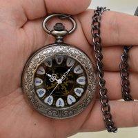 Engraved Quartz Pocket Watch Hearts Design