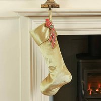 Merry And Bright Gold Velvet Christmas Stocking