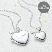 Personalised Silver Diamond Heart Girls Locket, Silver