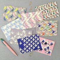 Multi Set Of Eight Bird Print Thank You Cards
