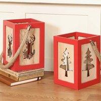 Vintage Scandi Wooden Candle Lantern