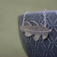 Sterling Silver Watercolour Oak Leaf Necklace, Silver