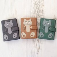The Cat's Whiskers Leather Card Holder, Beige/Green/Grey