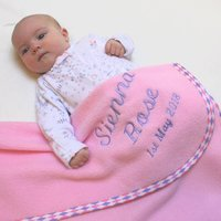 Personalised Harlequin Trim Blanket In Three Sizes, Navy Blue/Navy/Blue