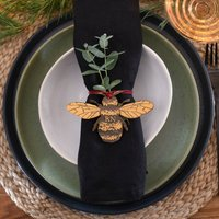 Golden Bee Christmas Table Place Name Setting
