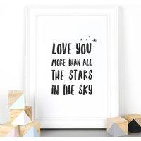 'Love You More' Black And White Children's Print