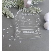 Personalised Family Winter Woodland Snow Globe