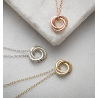 Personalised 9ct Gold Mini Russian Ring Necklace, Gold