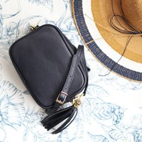 Cross Body Leather Handbag With Tassel, Navy Blue