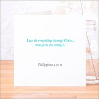 'I Can Do Everything' Classic Bible Verse Card, Blue/Azure/Baby Pink