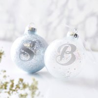 Personalised Initial Sparkle Bauble, Gold/Silver/White
