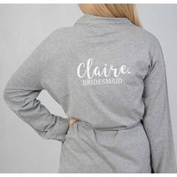 Personalised Jersey Robe Perfect For Bridesmaids, Black/White/Hot Pink