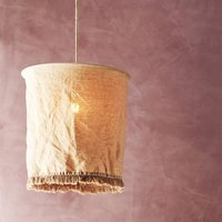 Stonewashed Brown Linen Lampshade With Fringes