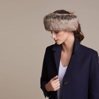 Luxurious Faux Fur Huff Headband, Jet/Camel/Midnight