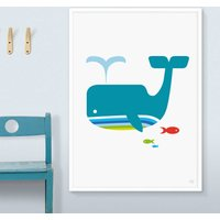 Whale And Fish Art Print