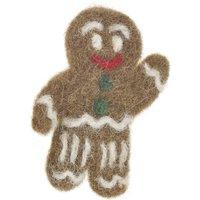 Handmade Christmas Gingerbreadman Badge Fair Trade