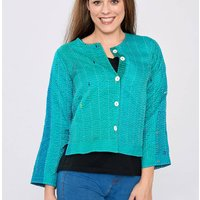 Emerald Green Pure Silk Hand Stitched Ladies Jacket