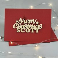 Personalised Merry Christmas Wooden Motif Card, Red/Green/Gold