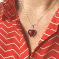 Murano Glass Heart Sterling Silver Pendant, Silver