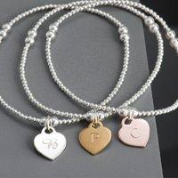 Sterling Silver Personalised Heart Charm Bracelet, Silver