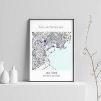 'Where We Met' Personalised Location Map Print
