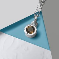 Smokey Quartz Silver Gemstone Necklace, Silver