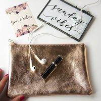 Metallic Soft Italian Leather Day Clutch Bag