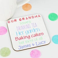 Personalised 'Grandma Loves' Coaster