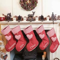 Personalised Red Gingham Heart Christmas Stocking