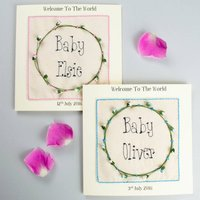Personalised New Baby Embroidered Card, Pink/Blue