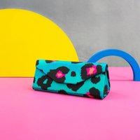 Teal Leopard Print Foldable Glasses Case