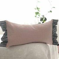 Oblong Pink Linen Gingham Cushion Sofa Pillow