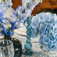 Powder Blue Glass Candle Holders Set Of Two