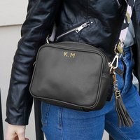 Personalised Black Handbag With Canvas Strap