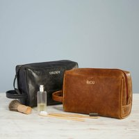 Personalised Leather Wash Bag, Brown