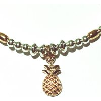 Sterling Silver And Rose Gold Pineapple Charm Bracelet, Silver