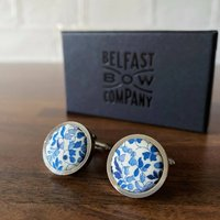 Liberty Cufflinks In Navy And White Ditsy Floral