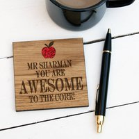 Personalised Wooden Awesome Teacher Coaster