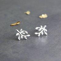 Sterling Silver Leaves Stud Earrings, Silver
