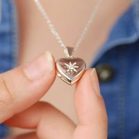 Personalised Sterling Silver Star Heart Locket, Silver
