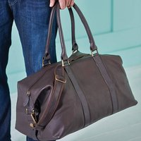 Anthony Handmade Leather Weekend Holdall, Brown/Black