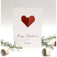 Origami Heart Personalised Christmas Card