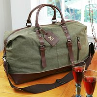Personalised Luggage Tag And Large Canvas Holdall Set